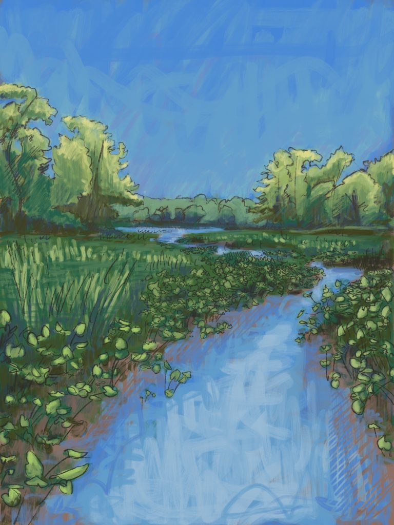 Painting of a marsh