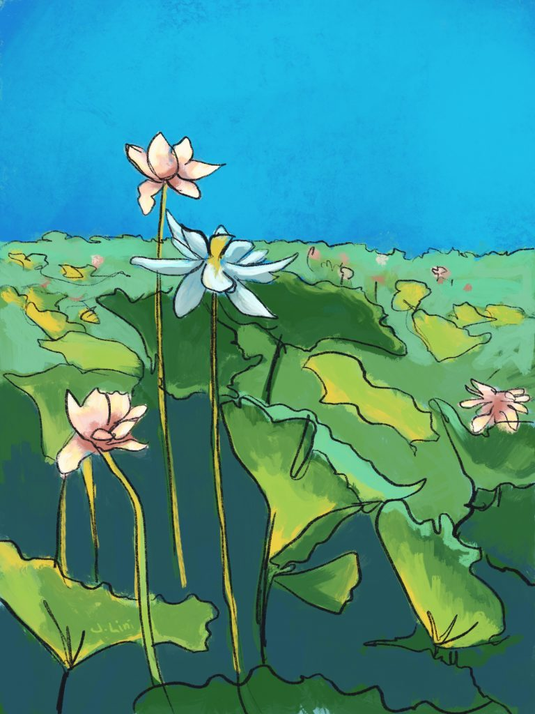 Painting of lotuses