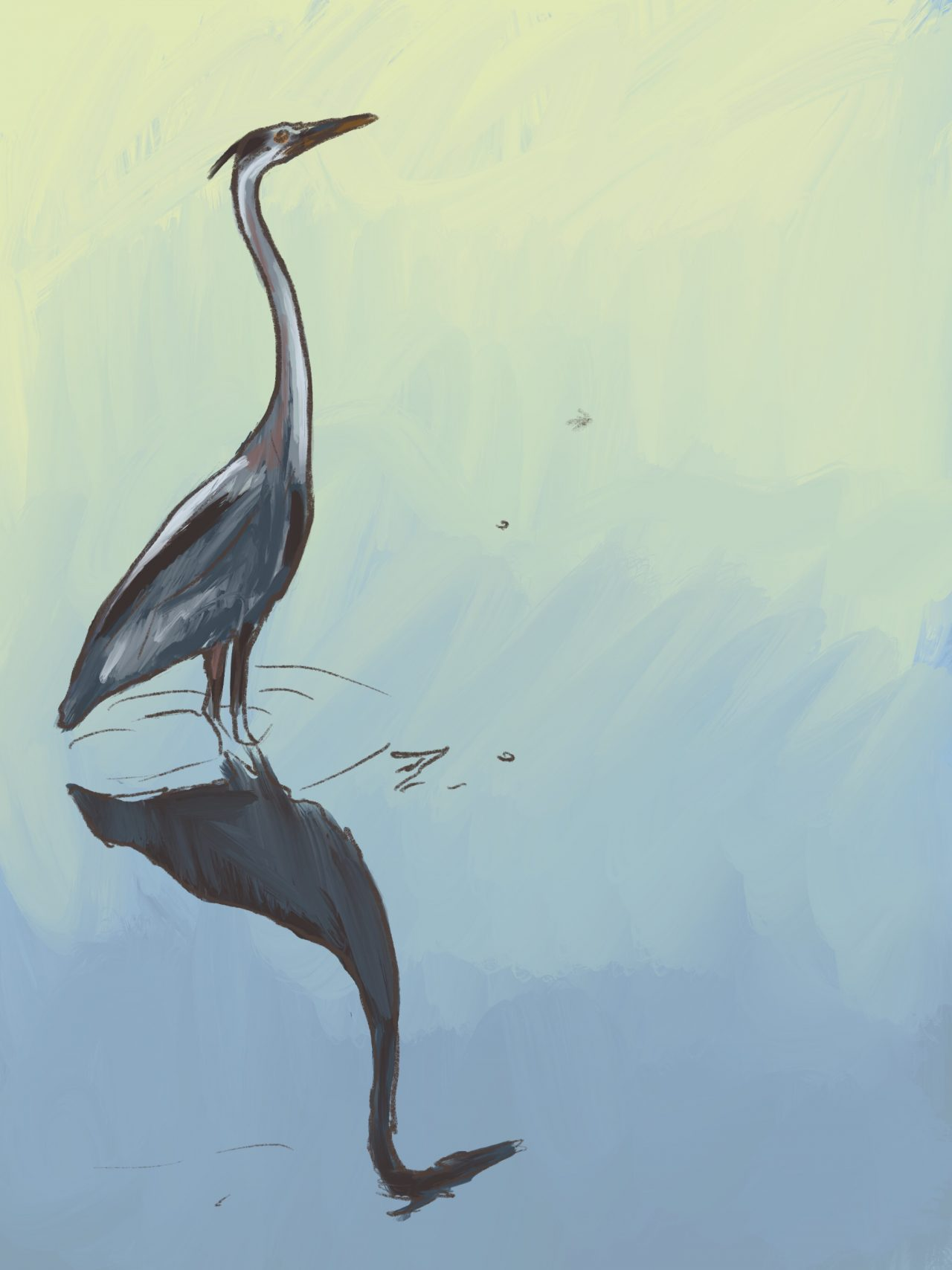 Painting of a great blue heron